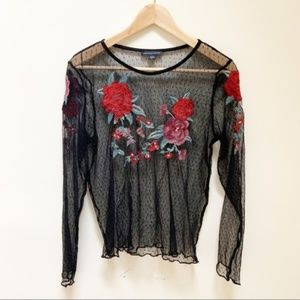 AEO sheer embroidered floral blouse Small